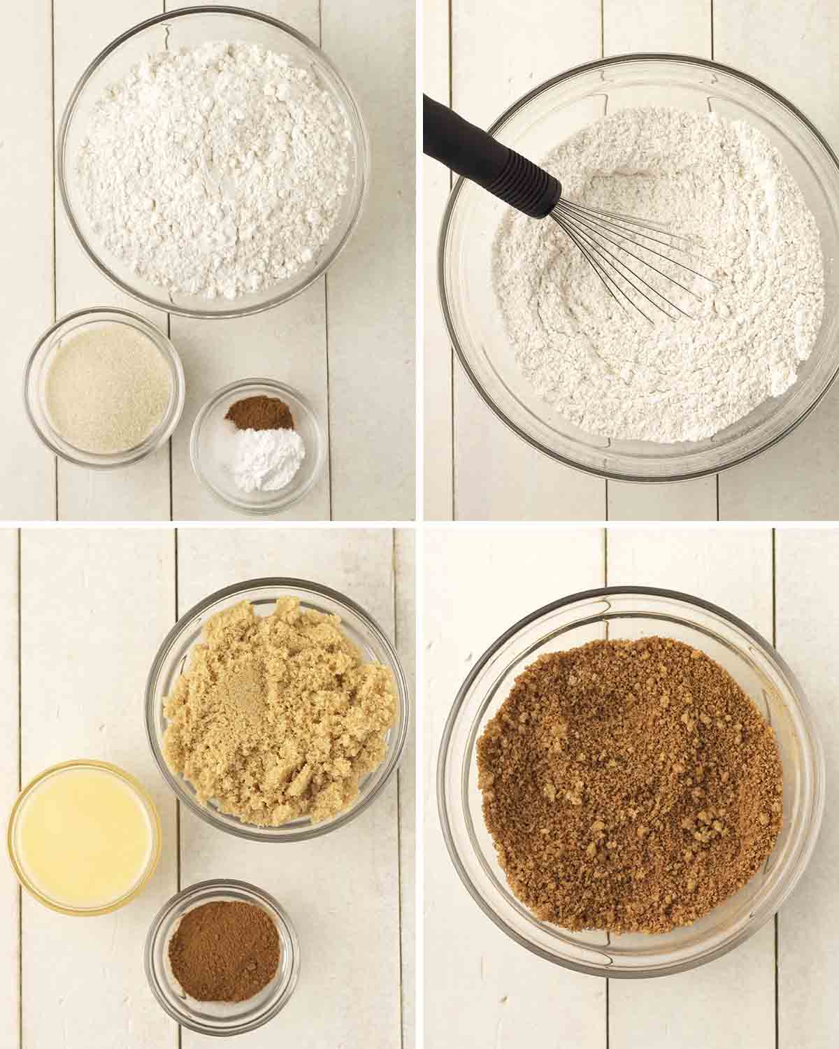 A collage of four images showing the ingredients needed to make the dough and filling for gluten free cinnamon rolls.