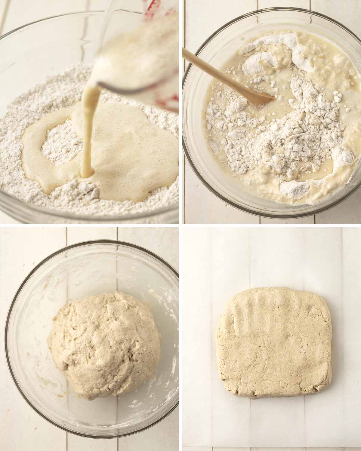 A collage of four images showing the steps to make the dough for gluten free vegan cinnamon rolls.