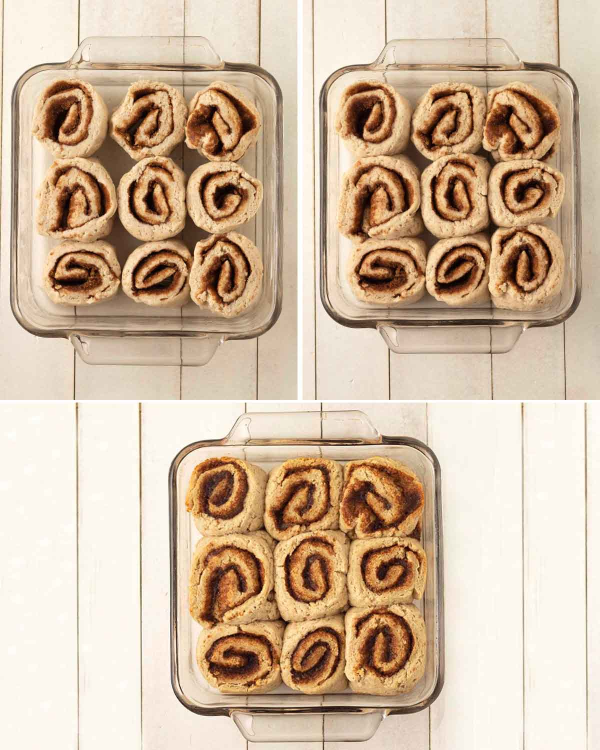 A collage of three images showing egg free cinnamon rolls before they rise, after they rise, and after they've baked.