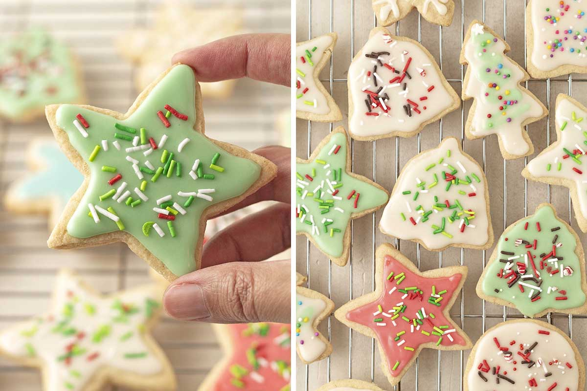 Two side by side images showing buttercream decorated Christmas vegan sugar cookies with sprinkles.