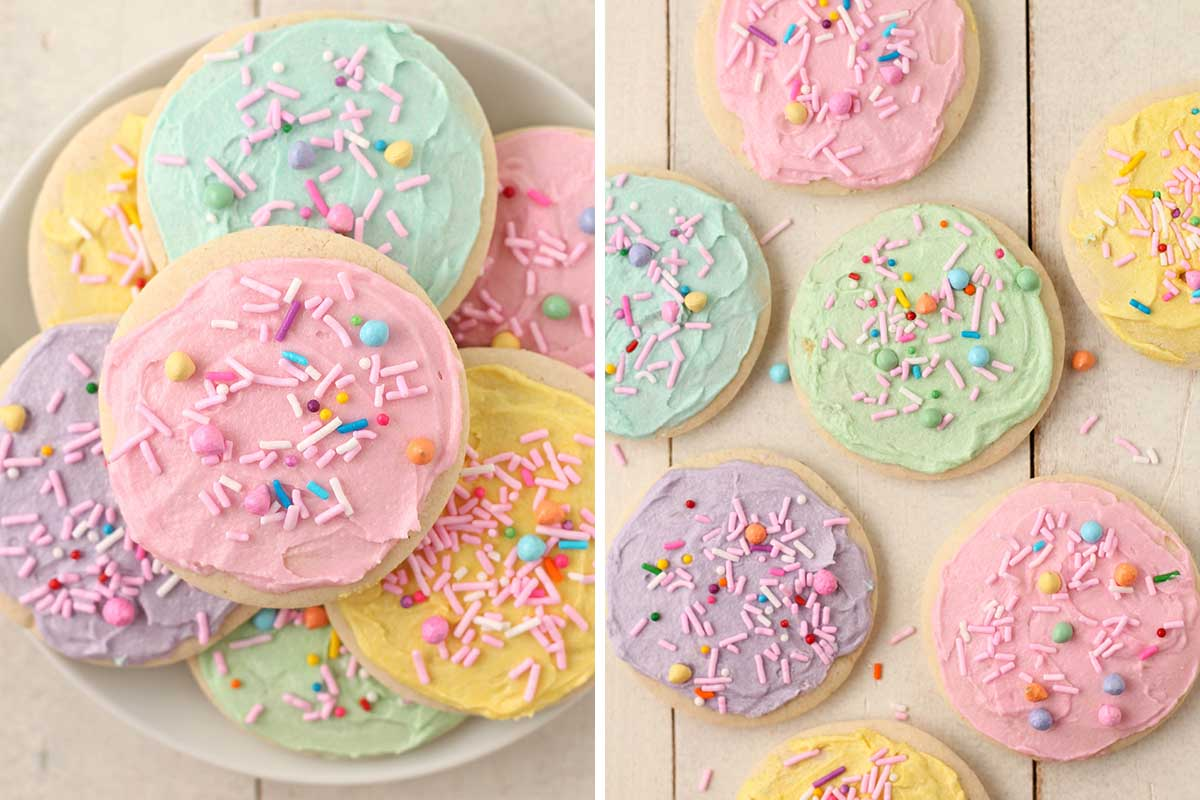 Two side by side images showing colourful decorated sugar cookies with sprinkles.