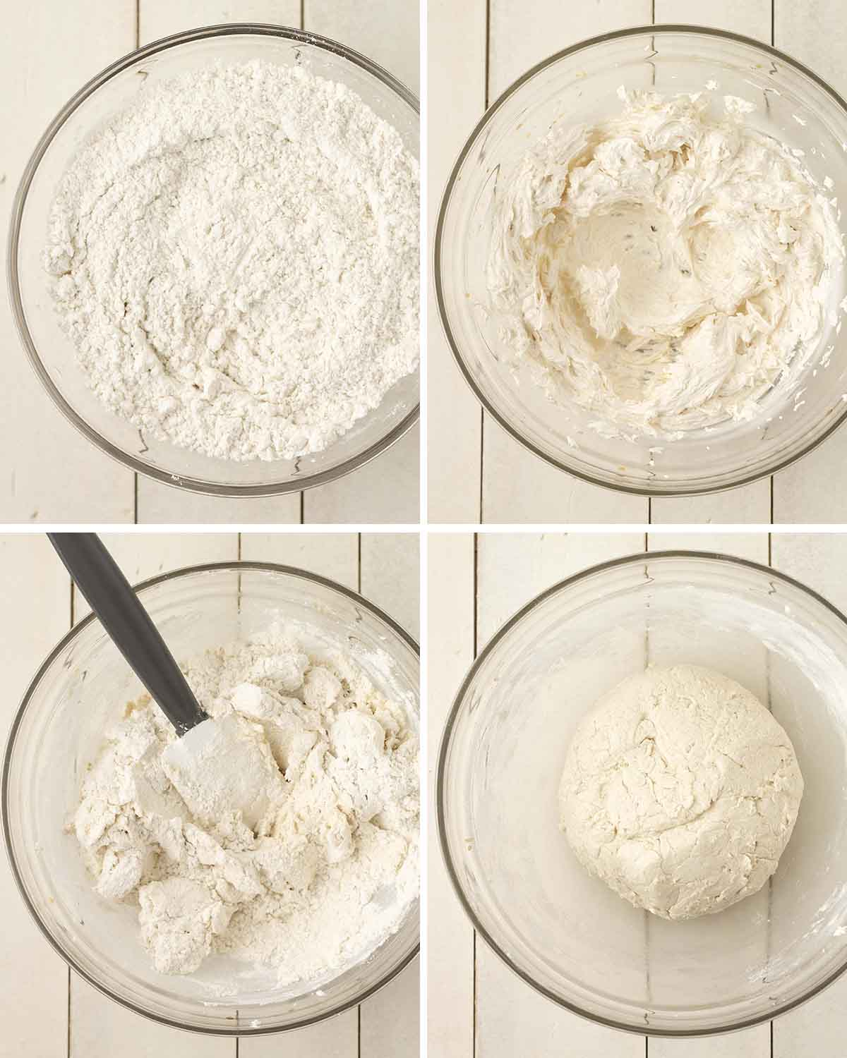 A collage of four images showing the first sequence of steps needed to make dairy-free egg-free sugar cookies.