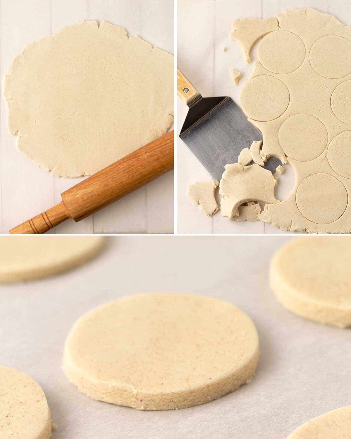 A collage of four images showing the second sequence of steps needed to make eggless sugar cookies.