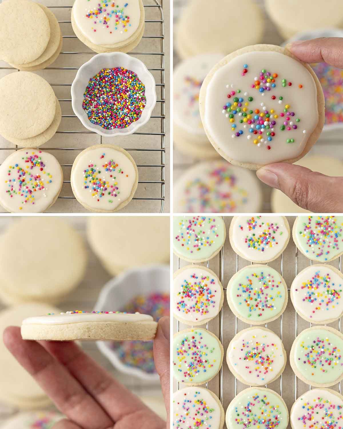 A collage of four images showing the final sequence of steps needed to make dairy-free sugar cookies.