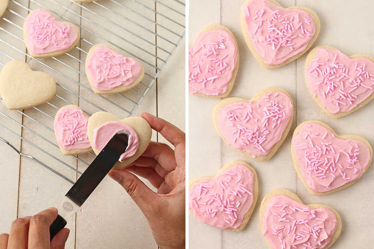 Two images of heart shaped Valentine's gf vegan sugar cookies with pink frosting and sprinkles.