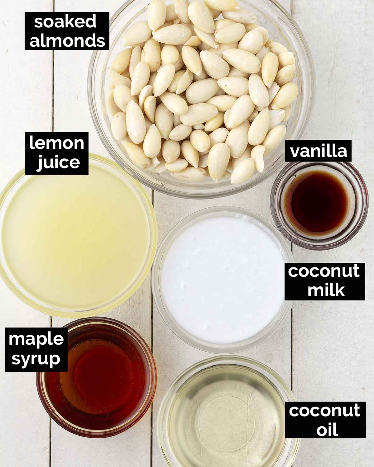 An overhead shot showing the ingredients needed to make the filling for this cheesecake recipe.