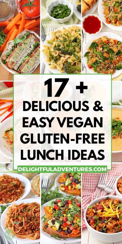 Pinterest pin showing 9 images of lunches with a text overlay, this image is to be used to pin this post to Pinterest.
