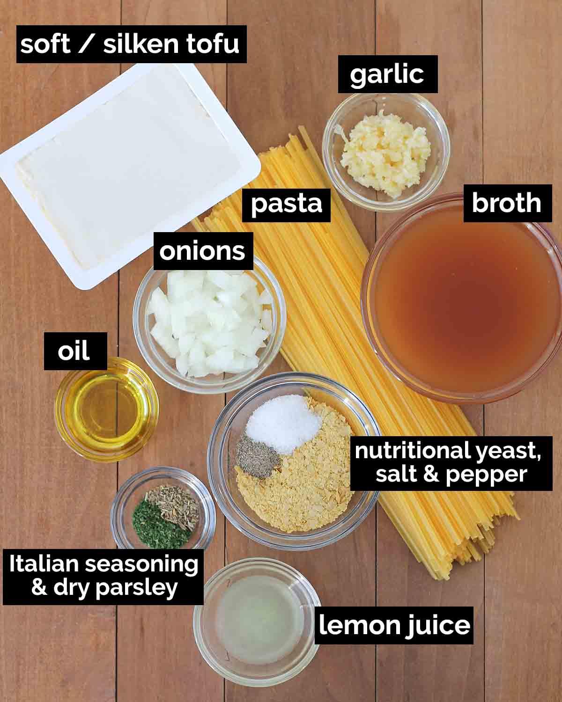 Overhead shot showing the ingredients needed to make vegan garlic pasta.