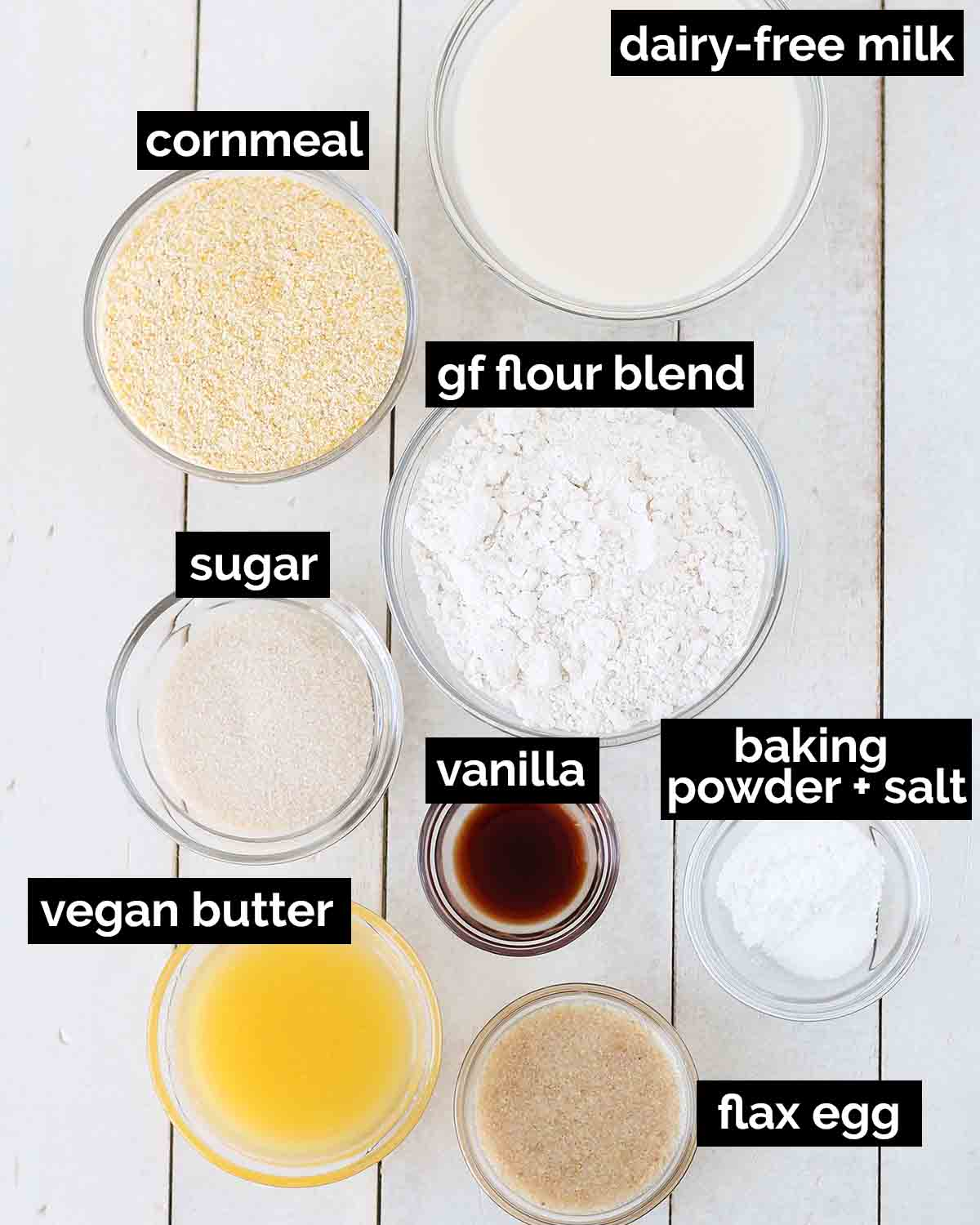 An overhead shot showing all the ingredients needed to make vegan gluten free cornbread.