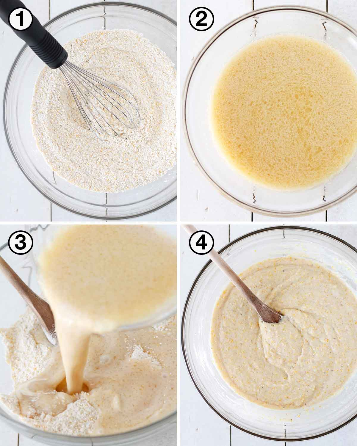 A collage of four images showing the sequence of steps needed to make dairy-free egg-free cornbread.