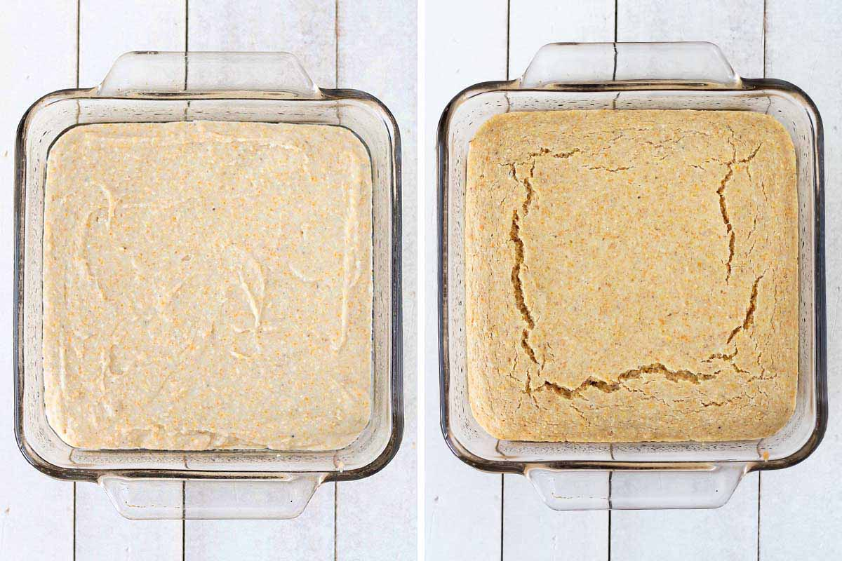 Two side by side images showing cornbread batter in a baking dish before baking and the other image shows it after baking.