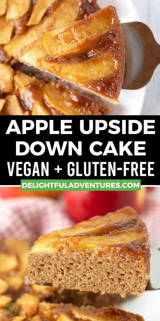 Pinterest pin showing two images of apple upside down cake, this image is to be used to pin this recipe to Pinterest.