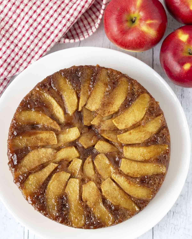 An overhead shot of a gluten-free apple upside down cake.