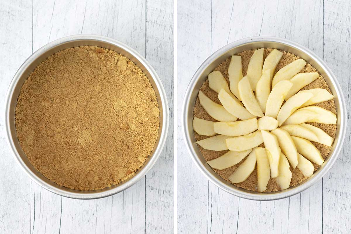 Two images, the first shows brown sugar in a cake pan and the second image shows apple slices arrange on top of the sugar.