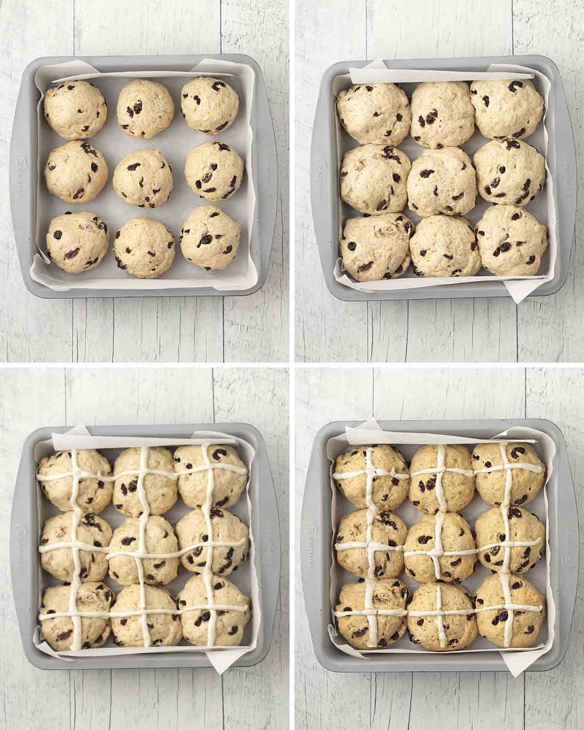 A collage of four images showing the second sequence of steps needed to make gluten-free hot cross buns.