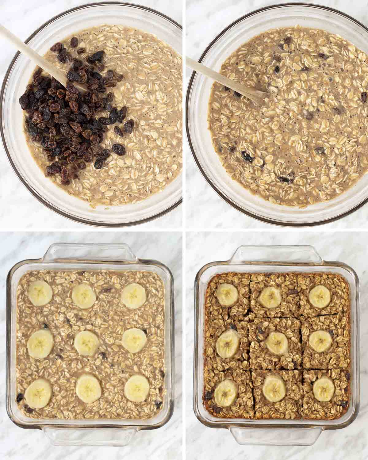 A collage of four images showing the second sequence of steps needed to make baked vegan oatmeal.