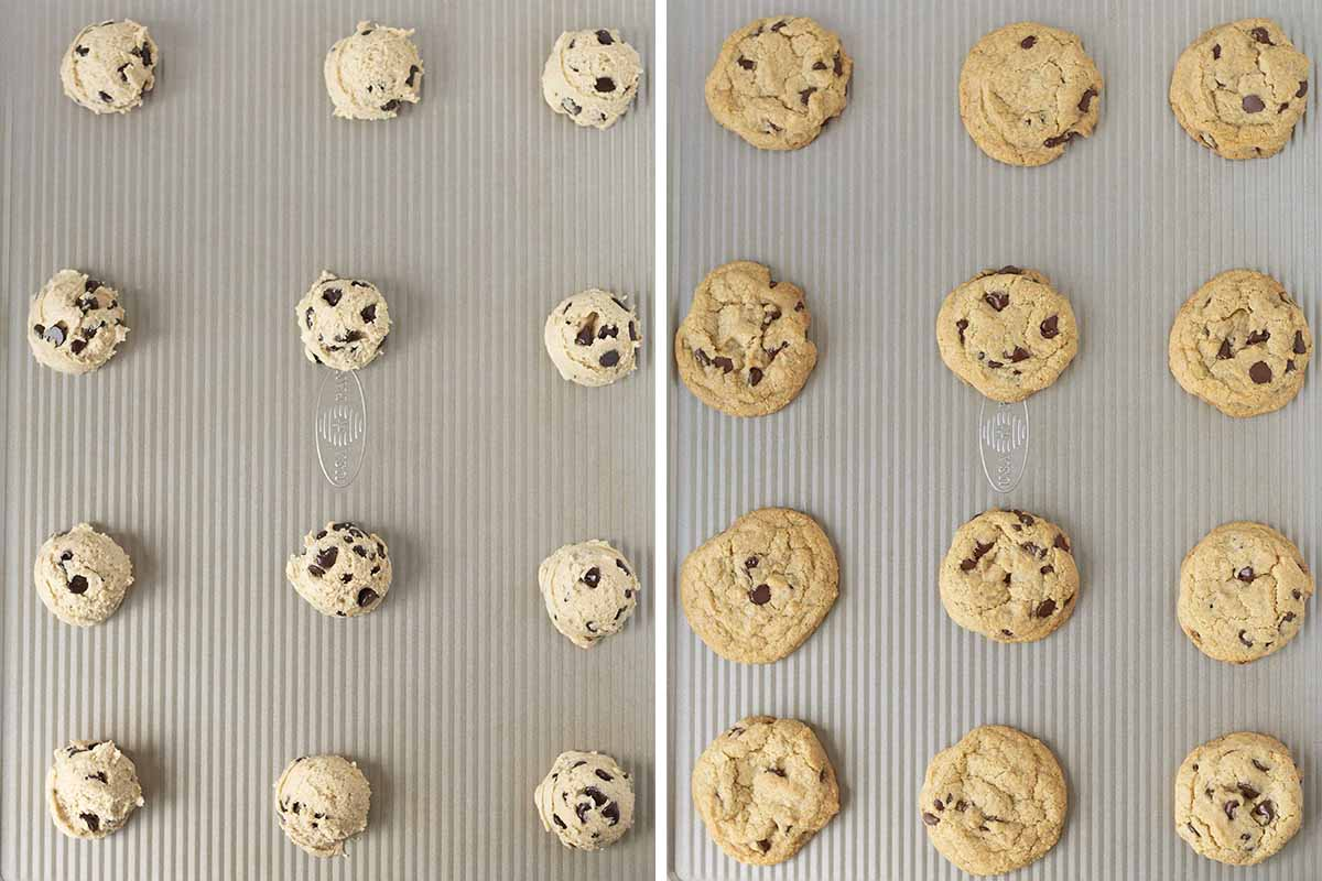Two side by side images showing cookies on a cookie sheet before being baked and after being baked.