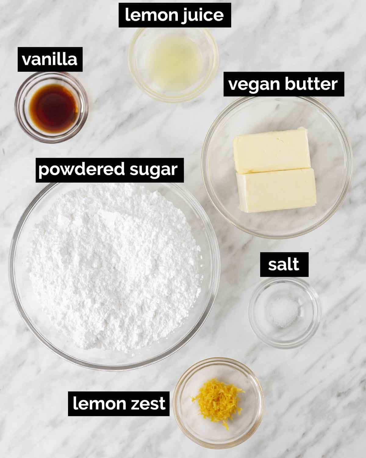 Overhead shot showing the ingredients needed to make dairy-free lemon icing.