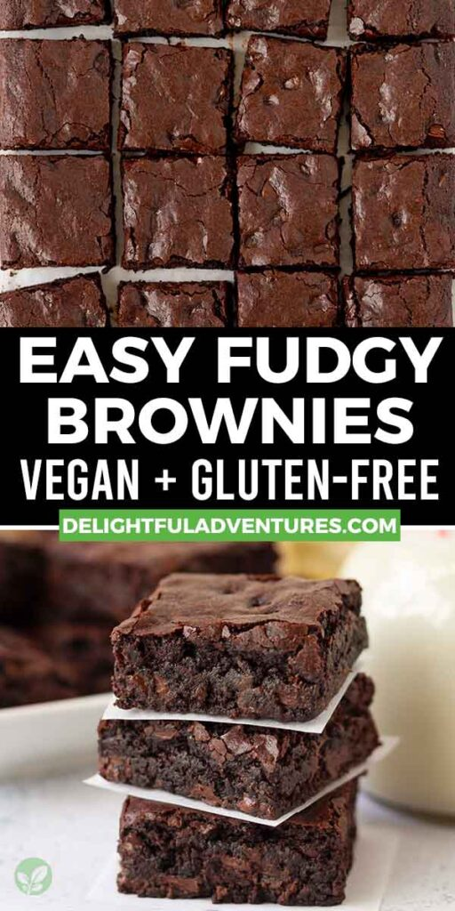 Pinterest pin showing two images of vegan gluten-free brownies, this image is to be used to pin this recipe to Pinterest.