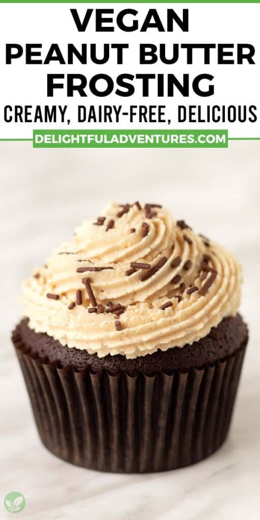 Pinterest pin showing a cupcake topped with peanut butter frosting, image is to be used to pin this recipe to Pinterest.