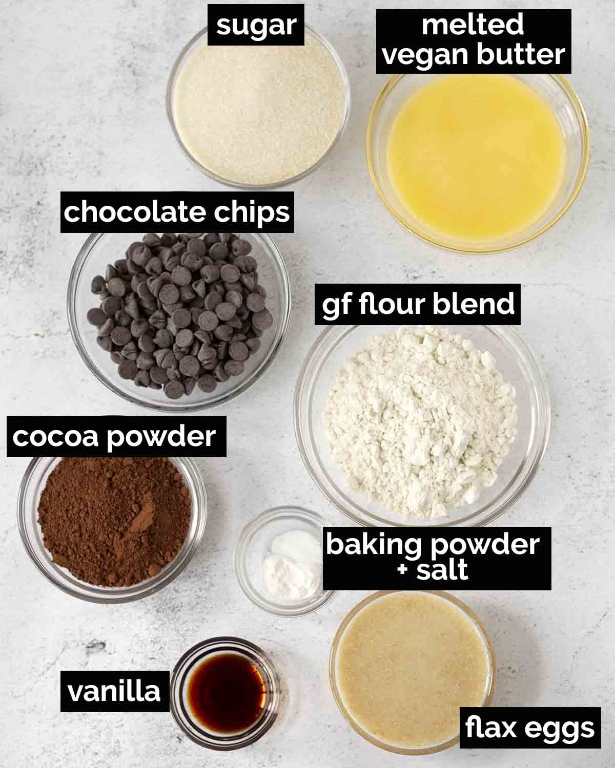 An overhead shot showing all the ingredients needed to make the best vegan gluten free brownies.