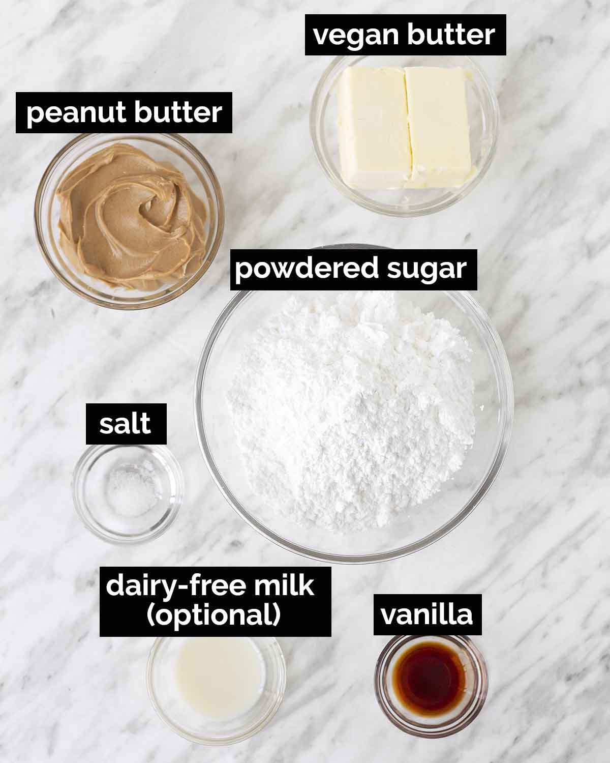 Overhead shot showing the ingredients needed to make vegan peanut butter frosting.
