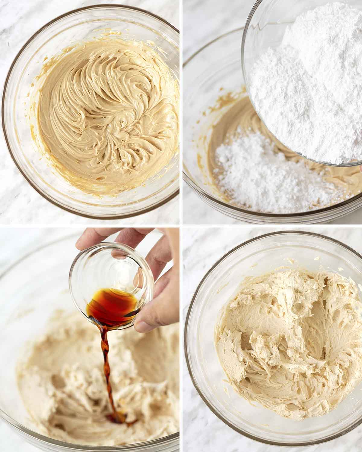 A collage of four images showing the sequence of steps needed to make peanut butter buttercream.