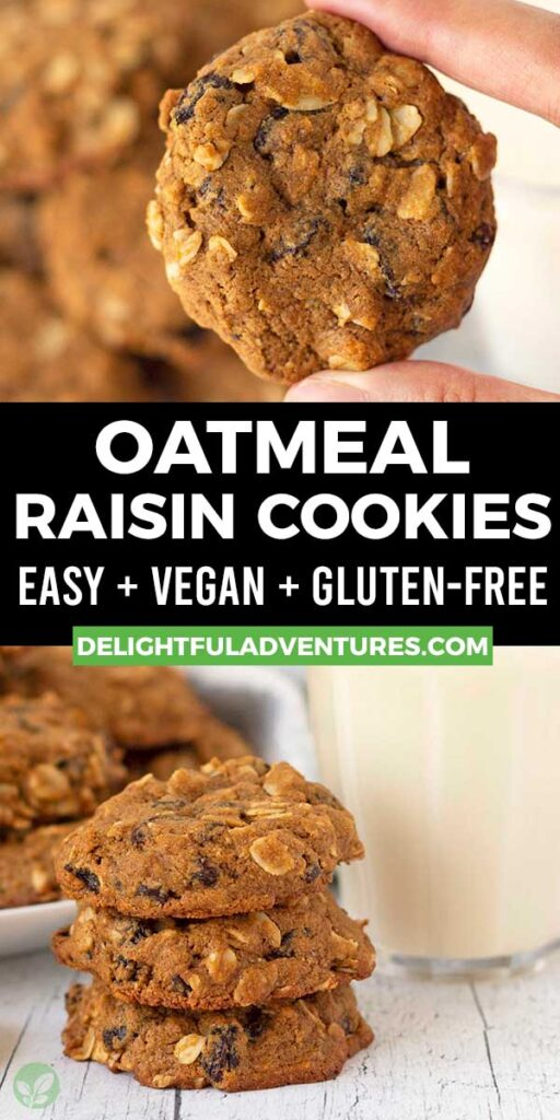 Pinterest pin showing two images of soft egg-free oatmeal cookies, this image is to be used to pin this recipe to Pinterest.