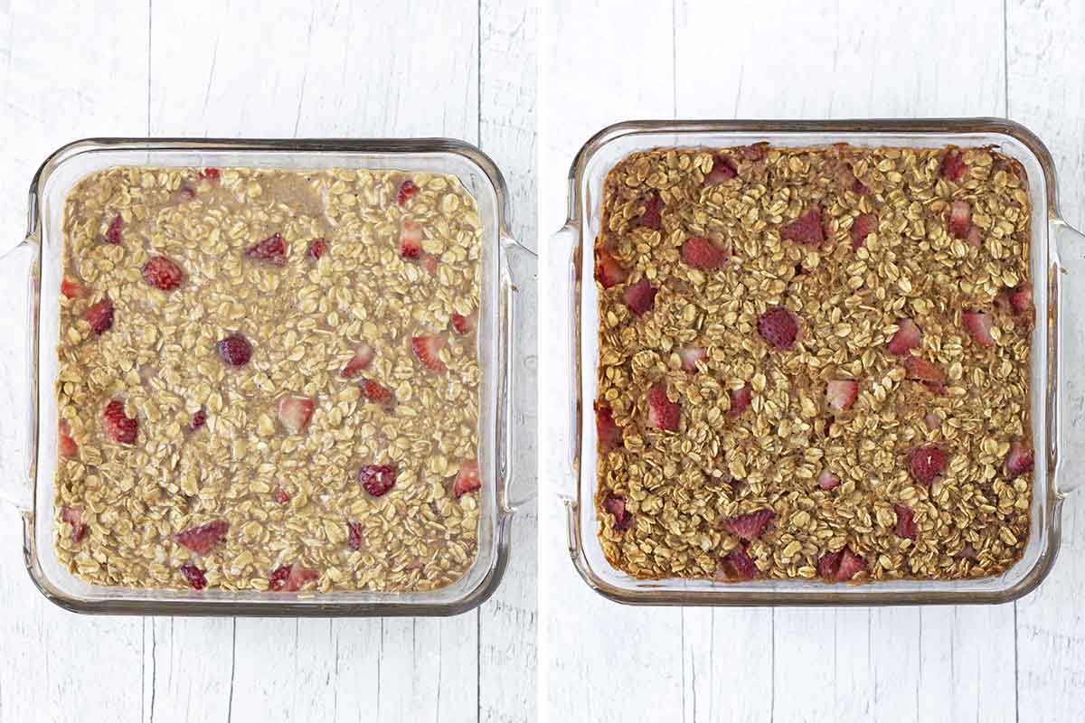 A collage of four images showing the sequence of steps needed to make dairy free baked strawberry oatmeal.