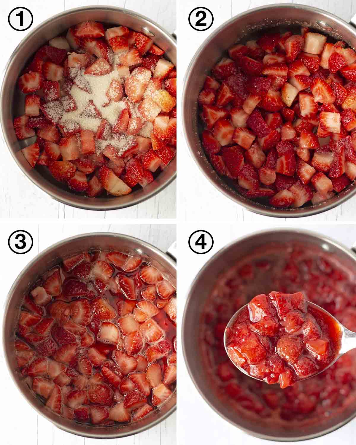 A collage of four images showing the sequence of steps needed to make vegan strawberry sauce.