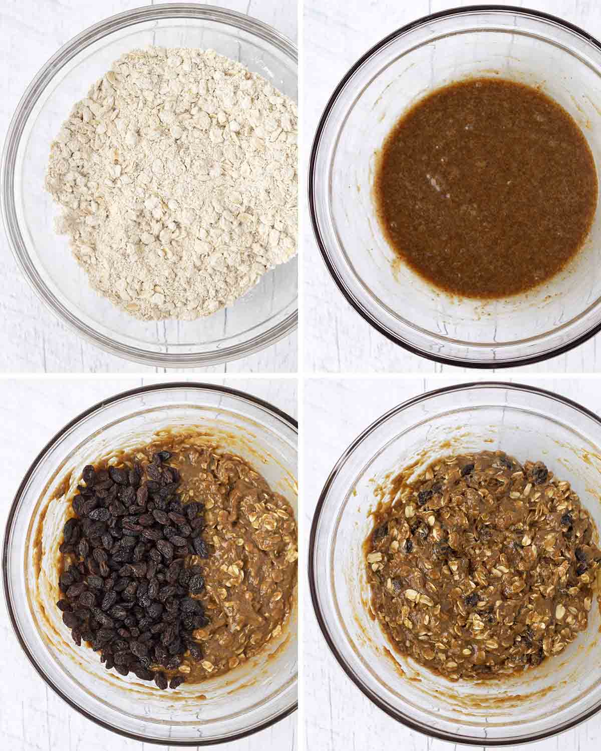 A collage of four images showing the sequence of steps needed to make egg-free oatmeal cookies with raisins.