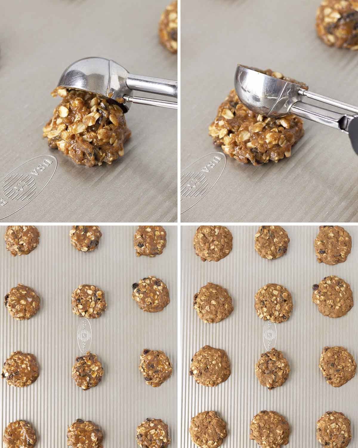 A collage of four images showing the sequence of steps needed to make dairy-free oatmeal cookies.