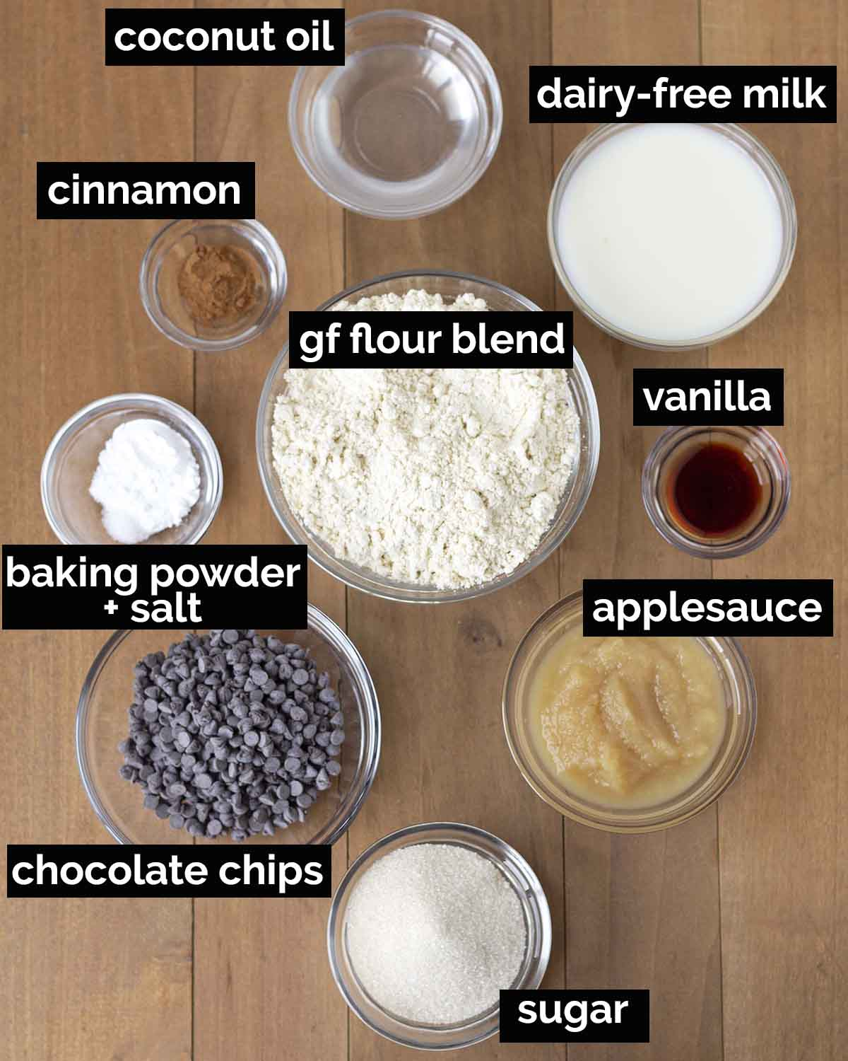 Overhead shot showing all the ingredients needed to make mini chocolate chip muffins.