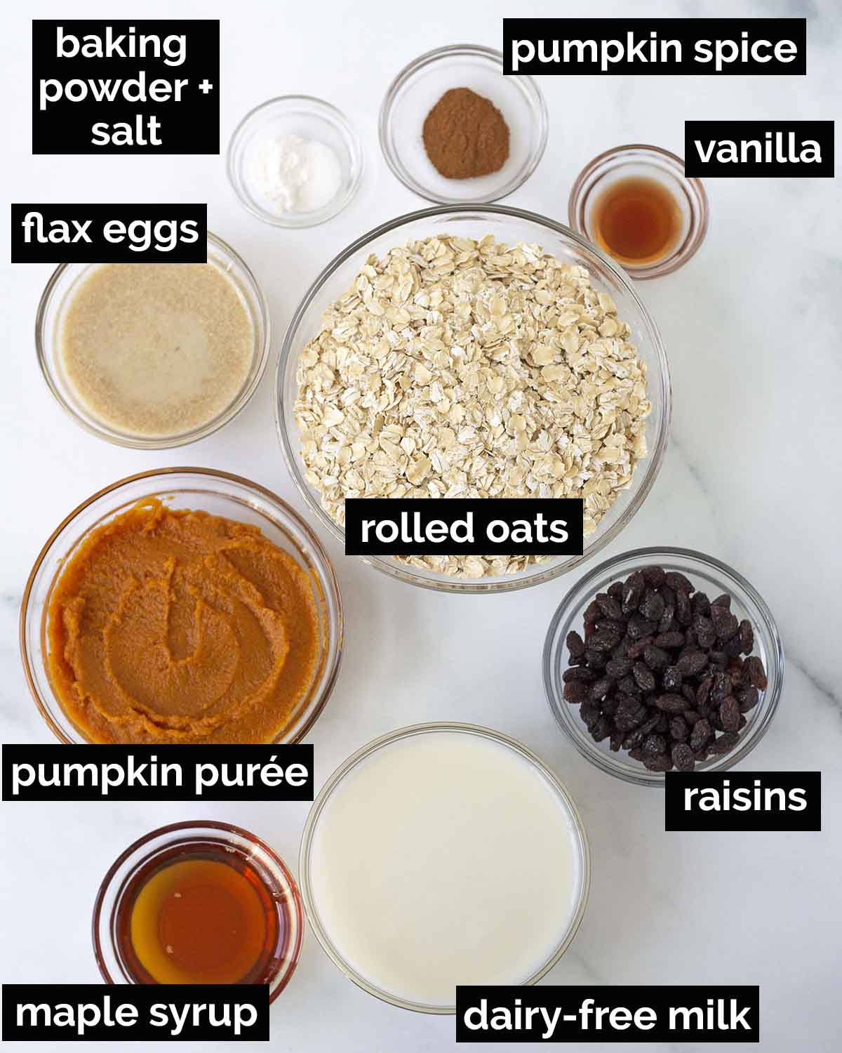 An overhead shot showing all the ingredients needed to make baked vegan oatmeal with pumpkin.
