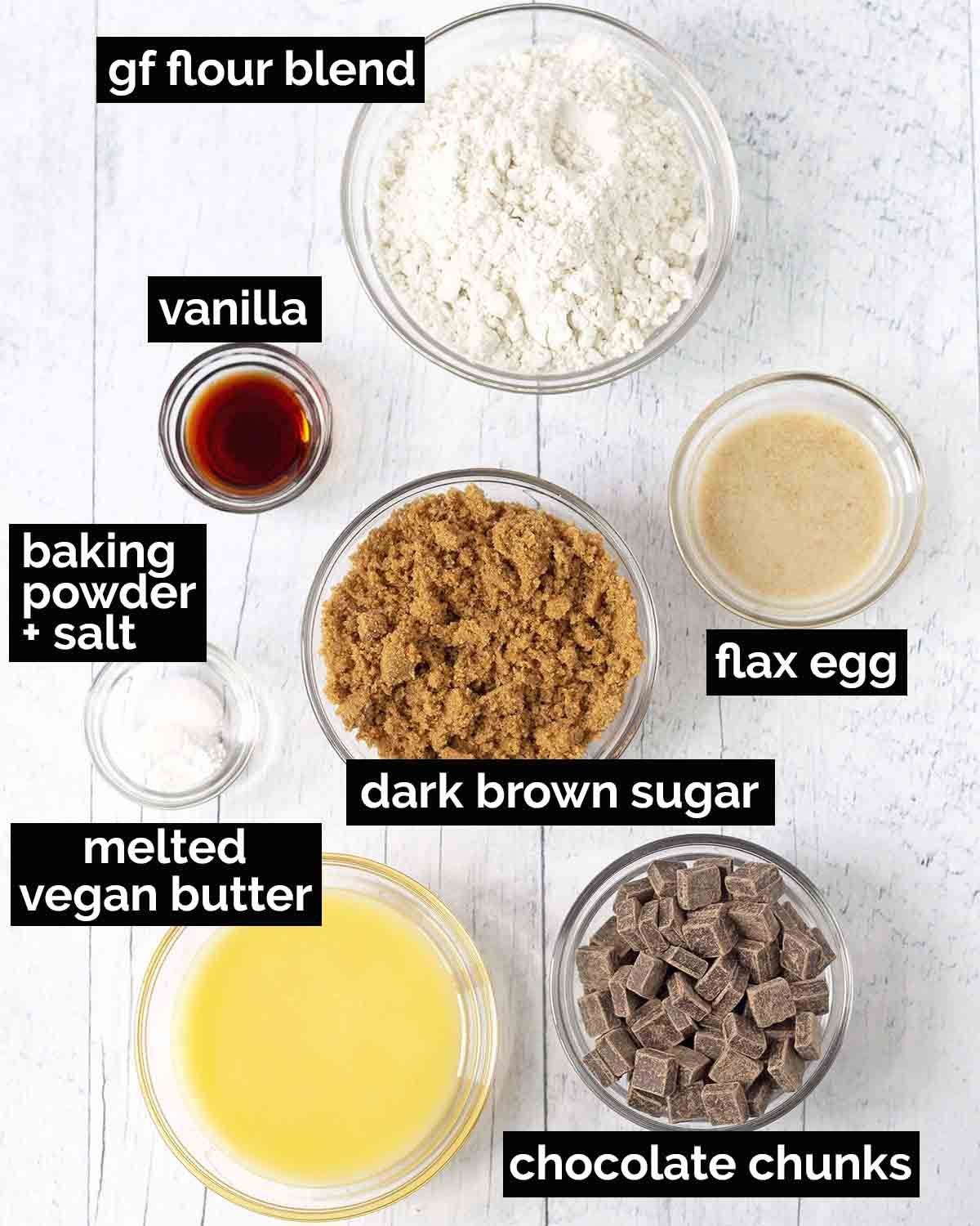 An overhead shot showing all the ingredients needed to make dairy-free, egg-free blondies.