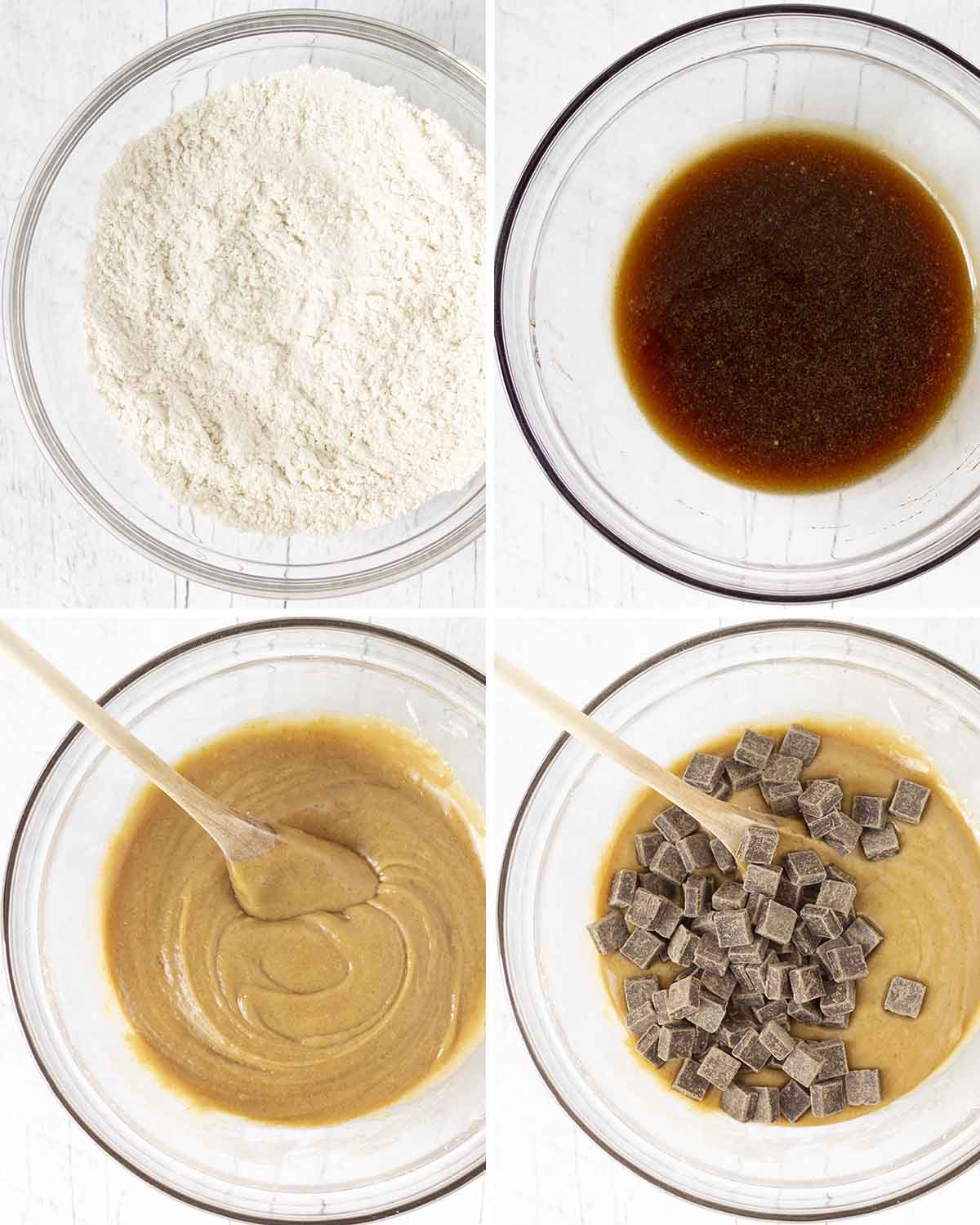 A collage of four images showing the sequence of steps needed to make chewy vegan gluten-free blondies.