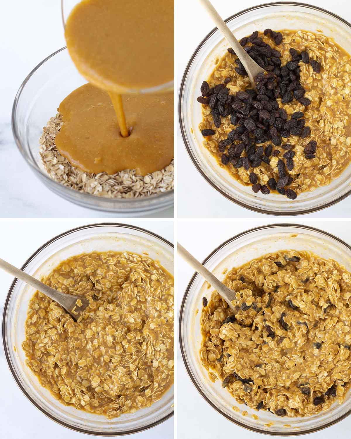 A collage of four images showing the sequence of steps needed to make eggless pumpkin baked oatmeal.